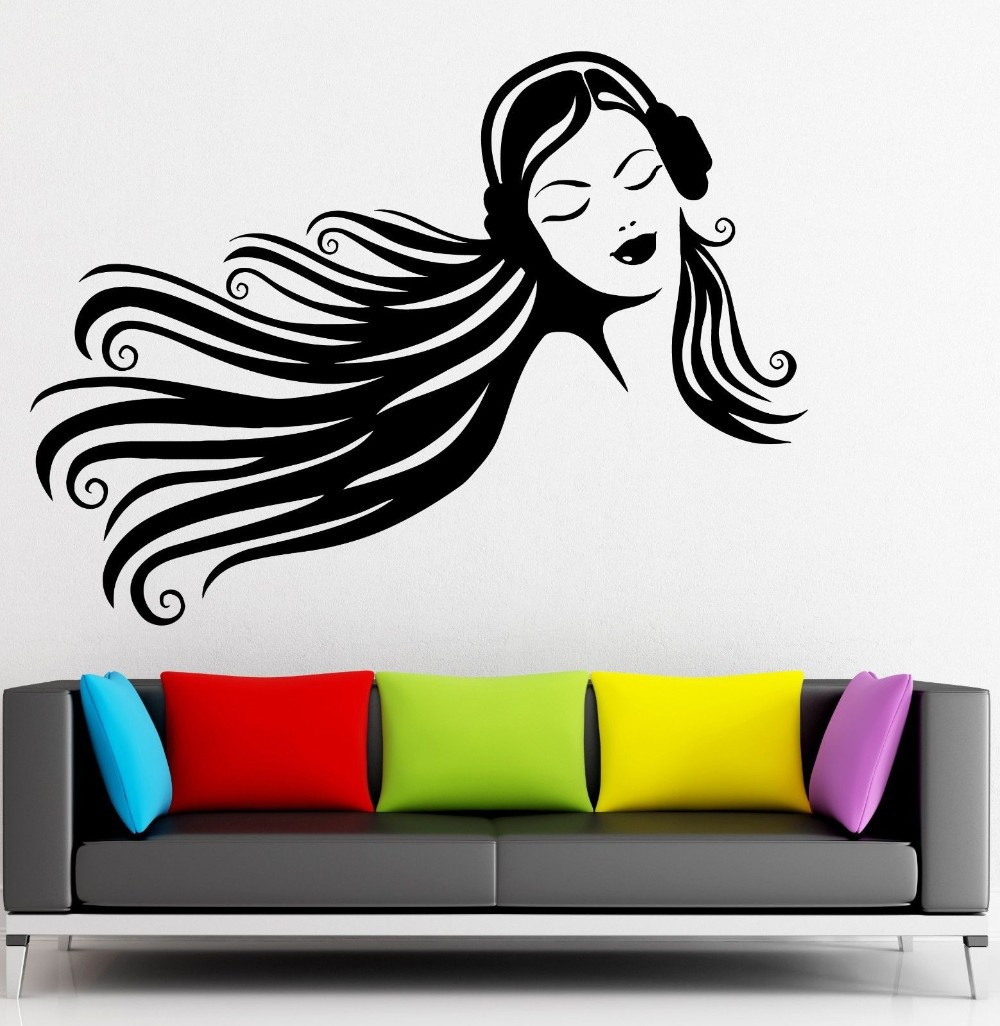 Music wall stickers teen girl headphones beautiful decor for Stickers de pared