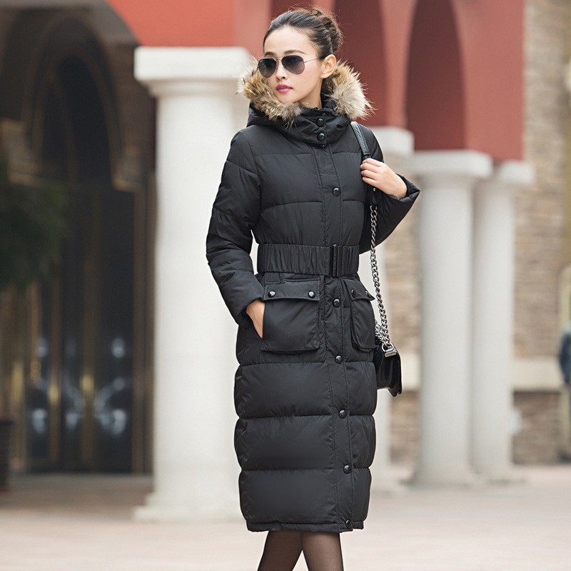 2016 Winter New Women Cotton Down Jacket Elegance  Hooded Fur collar Thicken Warm Big yards Slim Long Overcoat With a belt G0519