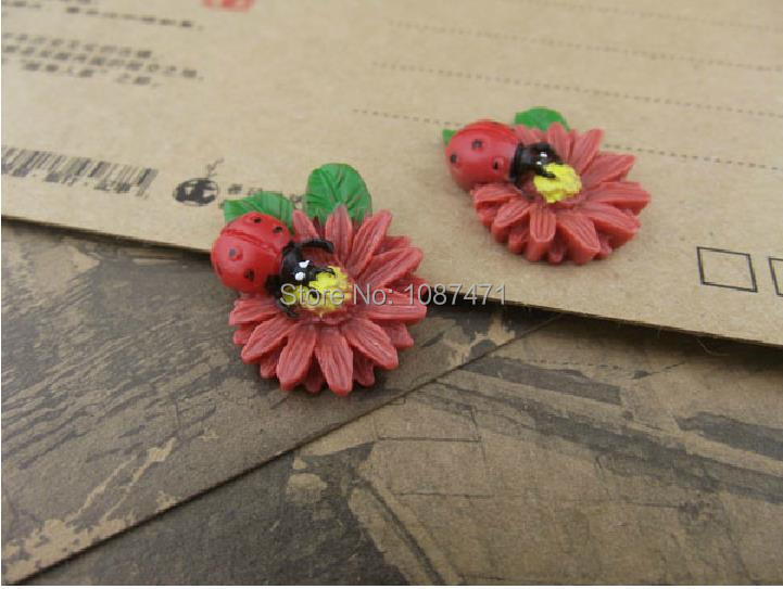new resin flower, resin jewelry accessories, handmade DIY jewelry materials Sunflower insect ladybug Specials 19mmx24mm 15pcs(China (Mainland))
