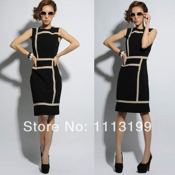 2014 New fashion new arrival slim black and white mosaic lines plus size summer elastic one-piece dress formal dress(China (Mainland))