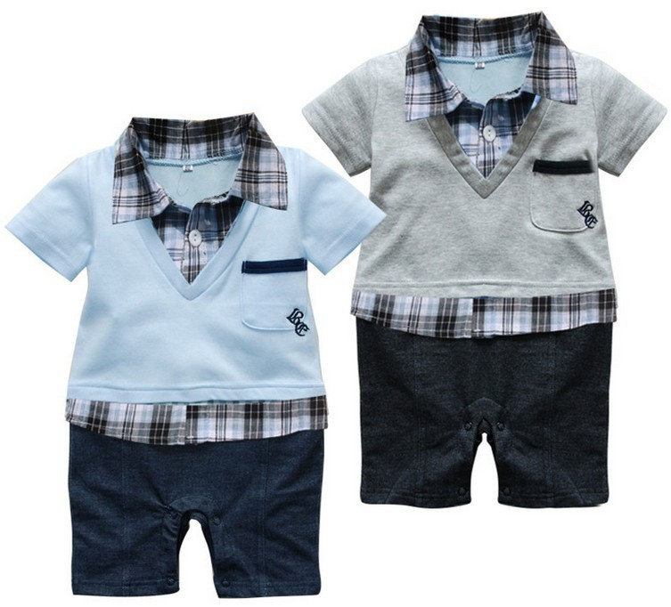 Free shipping 2015 summer Retail Baby infant romper with plaid shirt and V-neck Short-sleeved boys jumpsuit in preppy style(China (Mainland))