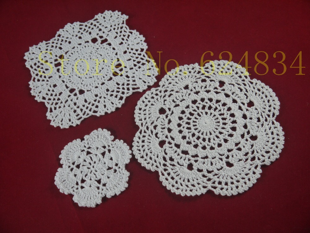 Free Shipping Handmade Crocheted Doilies table cover - 3 Design -Each Design 10 Piece - candle holders cup mat porcelain pad(China (Mainland))