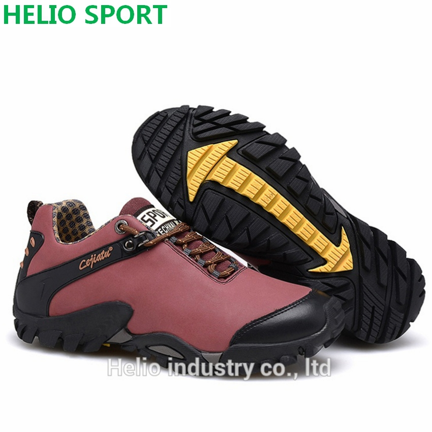 outdoor sport genuine leather hiking shoes women waterproof hunting trekking outventure trail women sneakers shoes boots h4805(China (Mainland))