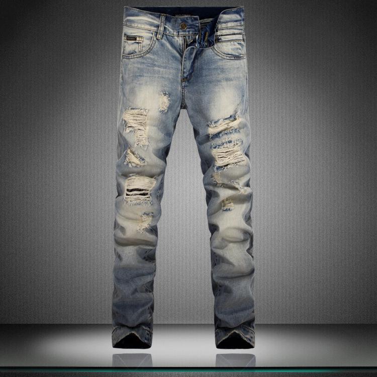 NWT famous brand skinny jeans men ripped Hole jean Slim pantalones fashion leisure pants vaqueros denim biker - JACK ANTONG SHOP store