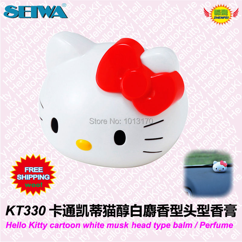 car accessories Cartoon HELLOKITTY alcohol white musk scent perfume bottle Balm fragrance KT330 free shipping(China (Mainland))