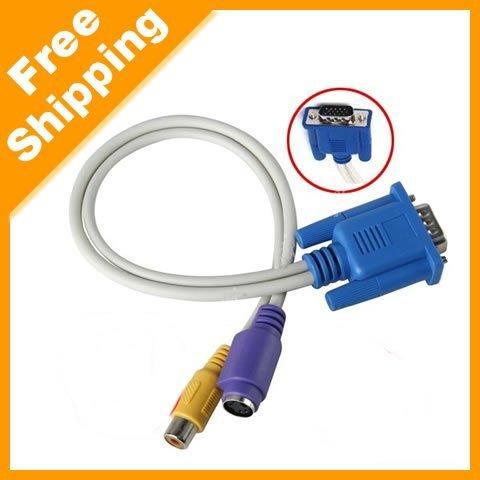 Free Shipping 1000pcs/lot VGA to rca VGA to TV S-VIDEO RCA Adapter Converter Cable Laptop PC China Wholesales(China (Mainland))