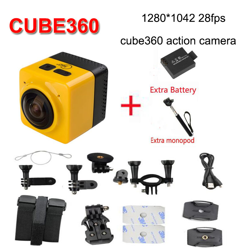 add battery and monopod new camera CUBE 360 720P 360-degree Panoramic VR Camera Build-in WiFi Mini Sports Action Camera
