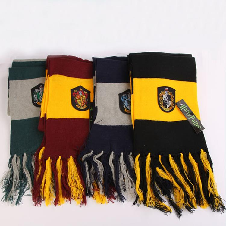 Harry Potter Scarf Gryffindor/Hufflepuff/Ravenclaw/Slytherin Scarves Wide Striped Warm Personality Cosplay prop Free Shipping(China (Mainland))