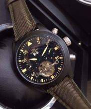 La marca superior de cuero Tourbillon hombres de movimiento automático del reloj para hombre auto viento relojes de pulsera mecánicos
