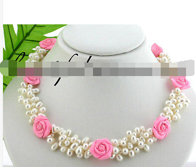 "free shipping>>> 3row 18"" white freshwater pearl pink turquoise flower necklace(China (Mainland))"