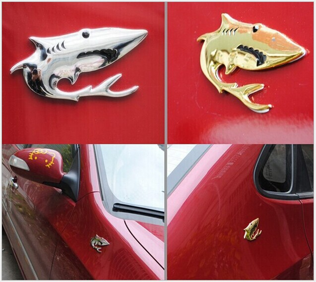 3D sharks matel Car Sticker high Quality car body Decal sticker Styling Free Shipping(China (Mainland))