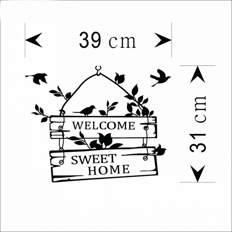 welcom to sweet home bird wall stickers home decorations living room decoration sticker removable vinly wall decals (1)
