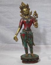 xd 001330 Tibet Buddhist Bronze 24K Gilt turquoise coral Padmapani Kwan-Yin Buddha statue