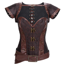 Free Shipping Goth Brown Canvas Steampunk Corset with Removeable Jacket and Belt Halloween Top Lace Up Back Corselet Plus Size