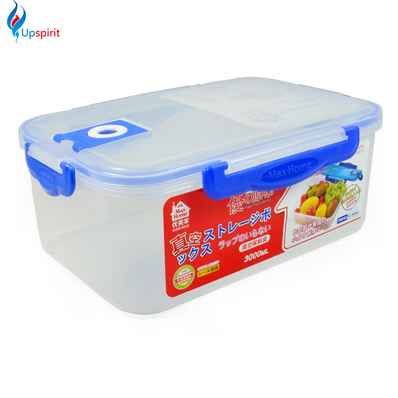 1 pc 3L plastic storage containers vacuum food container clear blue kitchen food storage container with lid storage bin for food(China (Mainland))