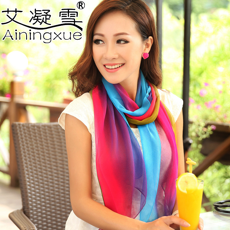 Spring and autumn summer thin silk scarf design long scarf women's chiffon scarf dual large cape(China (Mainland))