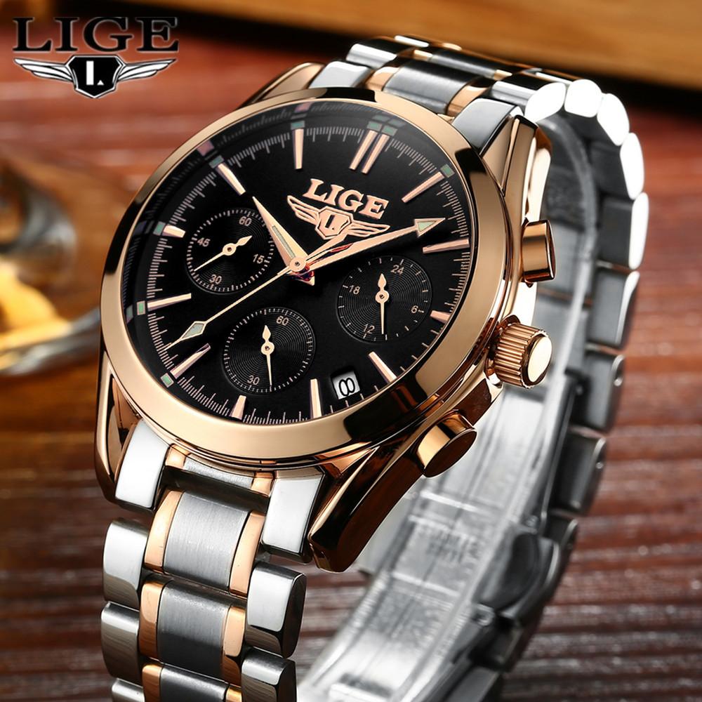 LIGE Mens Watches Top Brand Luxury Full Steel Clock Sport Quartz Watch Men Casual Business Waterproof Watch Relogio Masculino