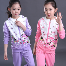 2016 Autumn Girls Clothes Jacket Floral Kids Hoodies+Pants Kids Tracksuit For Girls Clothing Sets Girls Sport Suit Age 3T-15T