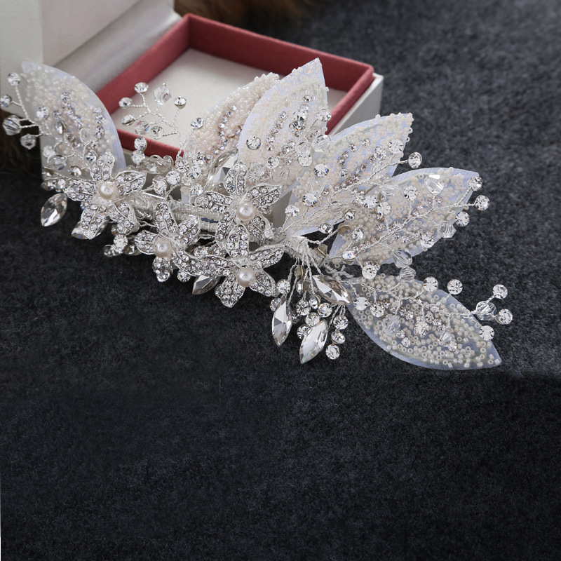 High Quality Crystal Beads Wedding Hair Jewelry Comb Handmade Bridal Headpiece Silver Accessories <br><br>Aliexpress