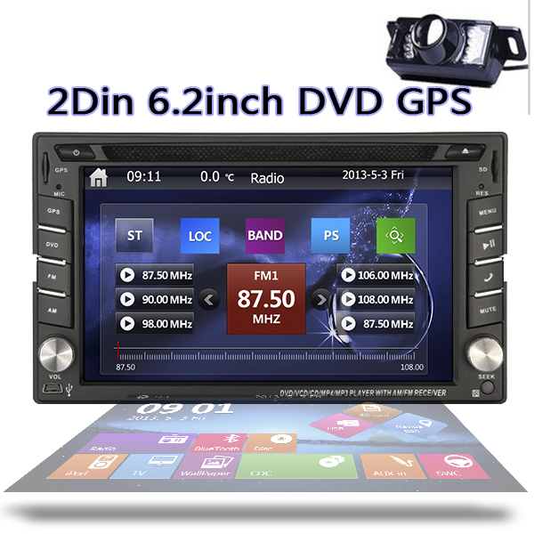Free Map card & camera 2016 New 6.2-Inch Double 2 DIN GPS Navigation Car DVD Player ipod Bluetooth GPS+Win 8 UI Car Audio Stereo(China (Mainland))