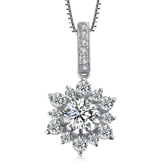 ZOCAI SNOWFLAKE 0.75 CT SI / I-J DIAMOND SOLID 18K WHITE GOLD PENDANT PENDANTS  925 STERLING SILVER CHAIN NECKLACE