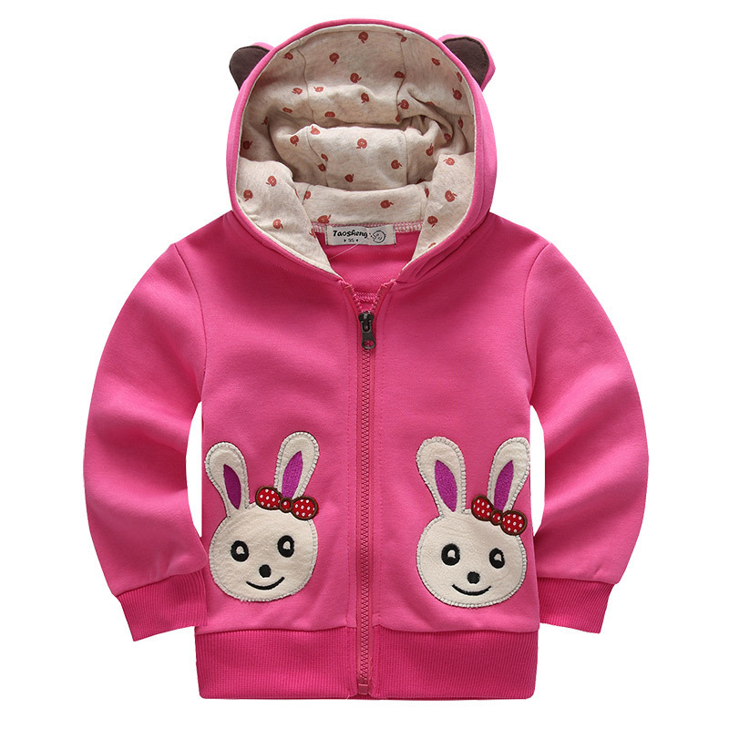 2015 Spring Autumn Girls Jacket Brand Hooded Cartoon Rabbit Baby Girls Outerwear Coat 2-7 Years Kids Clothing Children Jackets(China (Mainland))