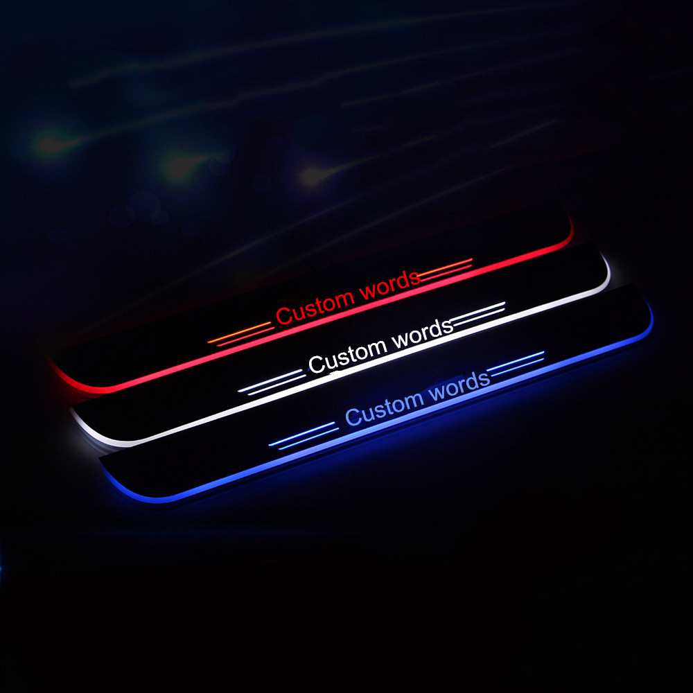 COOL !!! custom LED dynamicly moving Door Sill Scuff Welcome Pedal Car Styling Accessories For Extended Range Rover Creation(China (Mainland))
