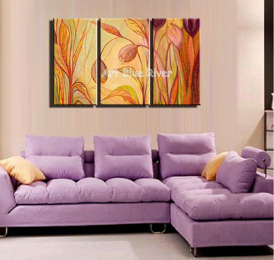 3 panneau toile de main d 39 art abstrait triptyque floral peinture l 39 huile sur toile pour l. Black Bedroom Furniture Sets. Home Design Ideas