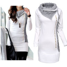High Quality 2015 New Stylish Women Shirt Turn-Down Collar Woman Lady Rivet Embellished Long Sleeve Hoodies Women Tops(China (Mainland))