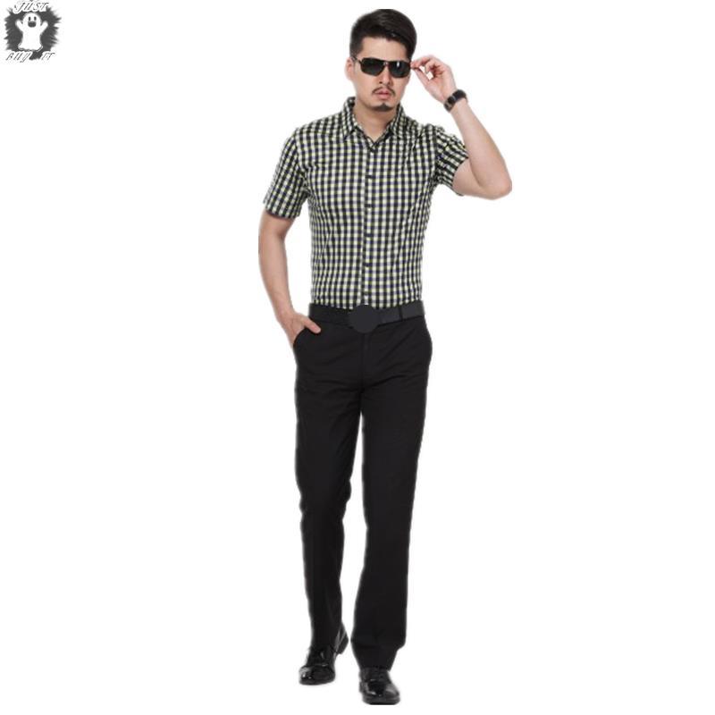 M-3XL Hot Summer Mens Shirts Short Sleeve Casual Shirt Men Yellow And Green Plaid Pattern T-shirt Cotton Top Man Clothing(China (Mainland))