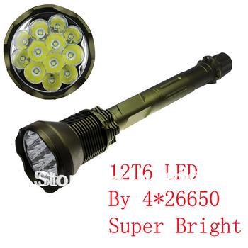 Super Brightness No logo 12T6 12*Cree XM-L T6 5-Modes 1,2000-Lumens LED Flashlight (4*26650 batteries) + free shipping