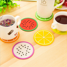 Colorful Jelly Color  Fruit Shape Coasters Creative Skid Insulation Silica Gel Cup Mat  XH05101(China (Mainland))