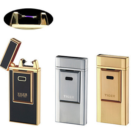 Tiger Windproof Ultra-Thin Metal Pulse Charge Usb Lighter Electronic Cigarette Lighter New Fashion Windproof Lighters AD001(China (Mainland))