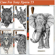 3D DIY Lovely colorful black white animals Case Cover FOR Sony Xperia T3 / pattern hard M50W - Fashion Factory store