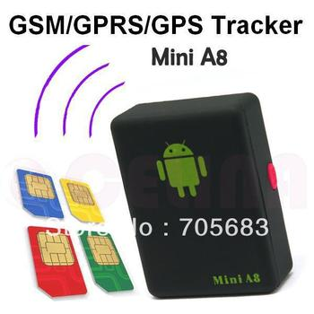 GSM GPRS Position Tracker Mini A8  GSM/GPRS/GPS  Track through both PC& Smartphone APP ,For children/pet