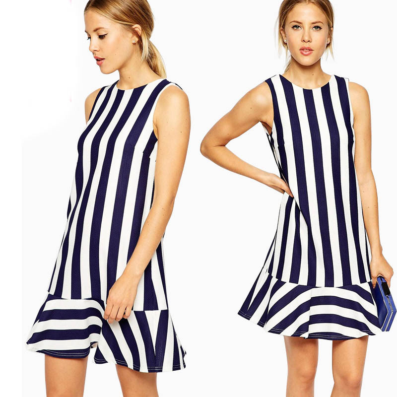 Spring & Summer 2015 Backless V-back O-neck Sleeveless Striped Ruffle Mini Dress Women Clothing Vestido Plus Size XS-XL XXL - Nanafast Fashion Style Shop store