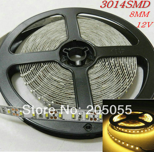 Superbright 16FT 8mm width 3014 LED Strip 5M 600 SMD 120LEDS/M 12V DC non-waterproof- Warm W(China (Mainland))