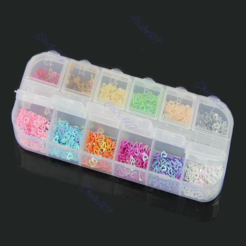 A96 Free Shipping 5boxes/lot 12 Colors Hollow Star Shape Nail Art Glitter Decoration Tips(China (Mainland))