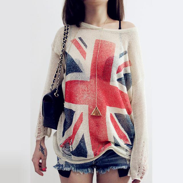 Мода ~ женские проблемные британский флаг великобритании печать разорвал отверстие ...