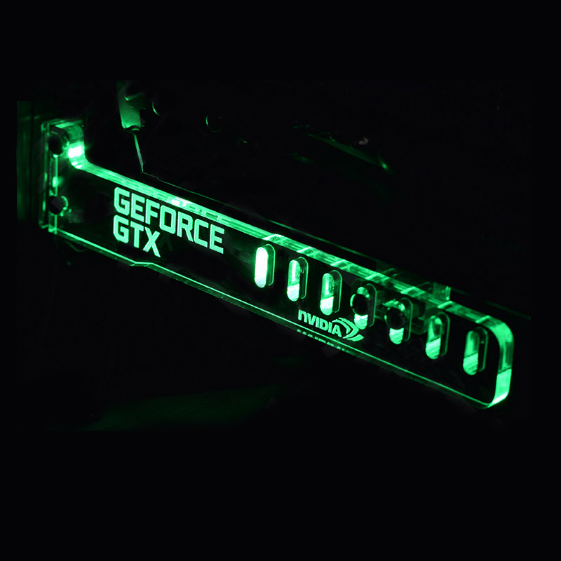 Hot Green GeForce GTX LED Luminous Computer Office Main Box HIS Graphics Cards Custom Support Frame Display Card Components Jack(China (Mainland))