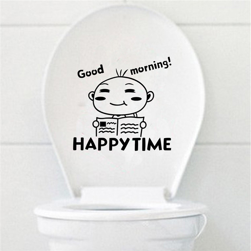Best Promotion A Boy Reading Cartoon Smiling Face Wall Bathroom Toilet Sticker Bathroom Product(China (Mainland))