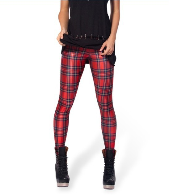 New Arrival Women Galaxy Designed digital Printed milk vintage font b Tartan b font Red Leggings