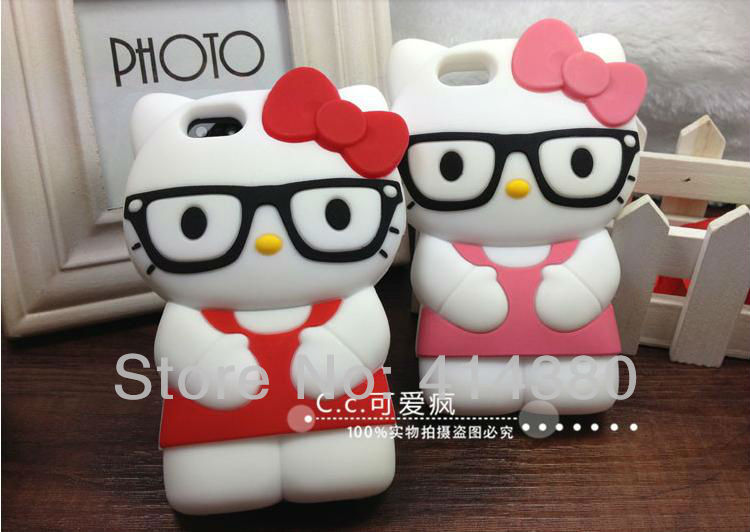 2013 New Hot sale Free shipping Lovely 3D Hello Kitty Glasses Shape Soft Silicone Case for iPhone 4 4S 50pcs/lot(China (Mainland))