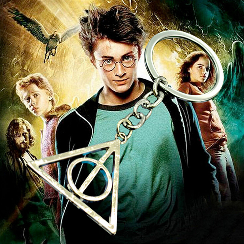 2015 New Design Harry Potter Keychain Silver Plated Rotatable Deathly Hallows Key Chain Pendant Jewelry Wholesale
