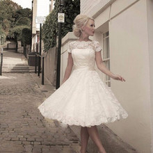 Vintage Inspired Scoop Tea Length Lace Short Wedding Dresses