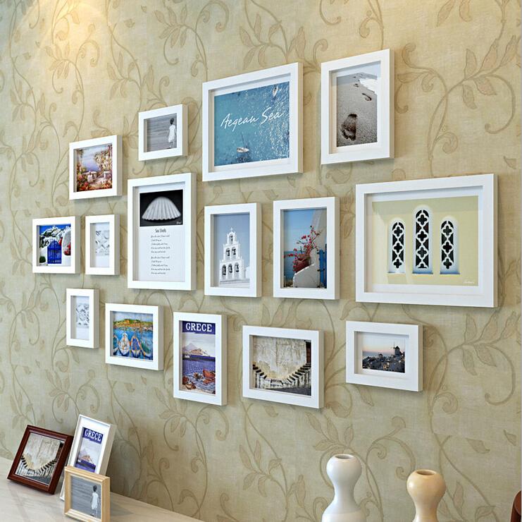2015 ikea qualited mur en bois cadres pour photo cadre idées 15 pcs set utilisé pour