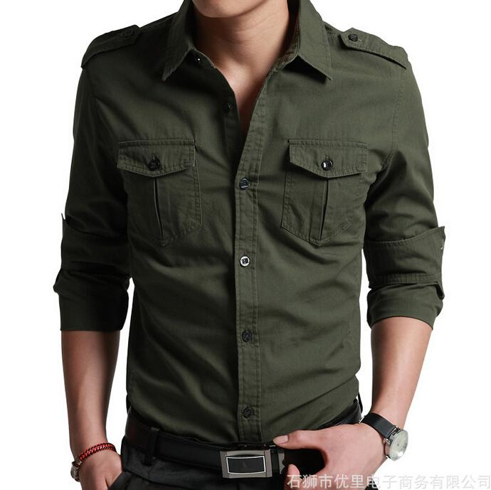 Military style men washed 100 cotton shirts long sleeve for Mens military style long sleeve shirts