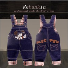 Free Shipping New Baby Jeans Jumpsuits Fashion Kids Denim Overalls Children Bib Pants Baby Boy Girls Denim MIckey Pants