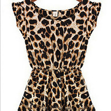 2015 Women's Casual Dresses Sweater Elegant Classical Vintage Sleeveless Pinup Leopard Dress Loose Casual summer Large Yards
