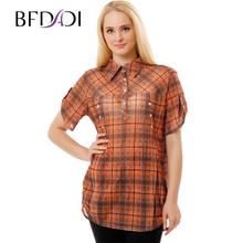 BFDADI 2017 Летний Стиль С Коротким Рукавом Плед Рубашки Женщины Блузки Досуг Тонкий сетка Большой размер 3230(China (Mainland))